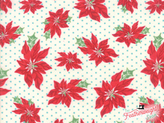 Load image into Gallery viewer, Fabric, Sweet Christmas Marzipan by Urban Chiks for Moda - POINSETTIA BLUE DOT (by the yard)