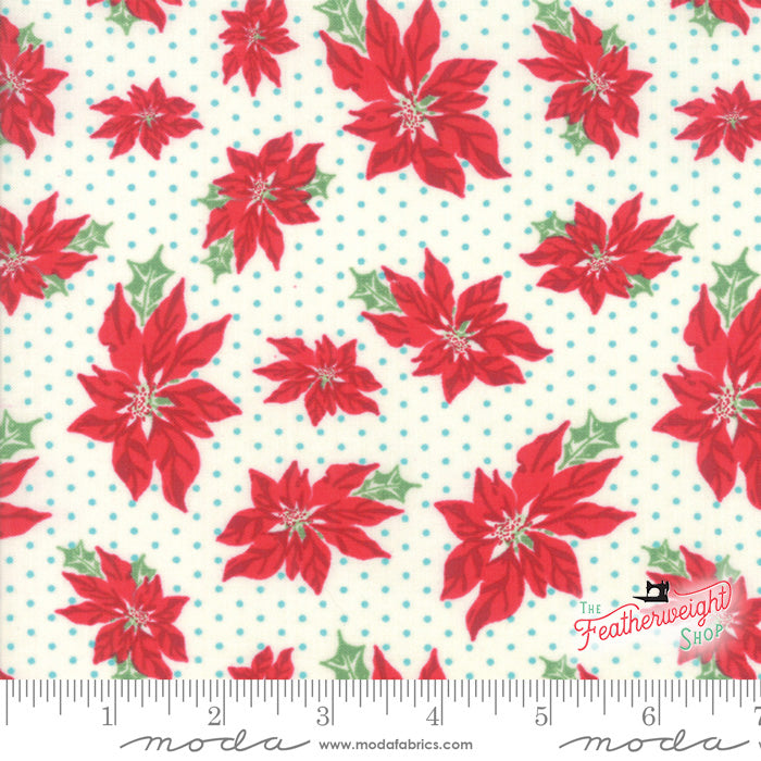 Fabric, Sweet Christmas Marzipan by Urban Chiks for Moda - POINSETTIA BLUE DOT (by the yard)
