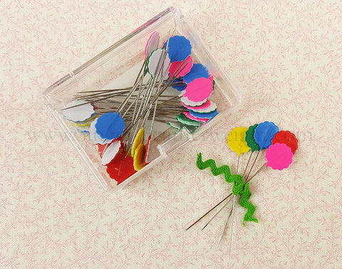 Flower Head Pins, Multi-Colored BRIGHT 40 Count