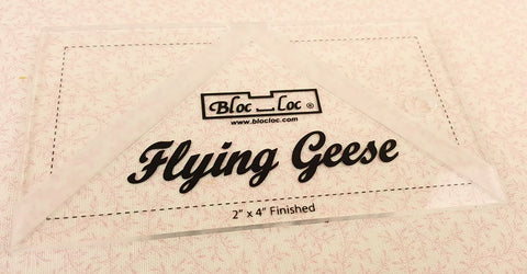 "Flying Geese ""BLOC LOC"" Ruler with Squaring-Up Groove 2.5"" x 4.5"" (2"" x 4"" finished)"
