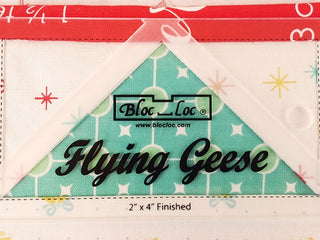 "Load image into Gallery viewer, Flying Geese ""BLOC LOC"" Ruler with Squaring-Up Groove 2.5"" x 4.5"" (2"" x 4"" finished)"