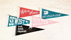 Felt Quilting / Sewing Pennants by Christopher Thompson (Set of 5 pennants)