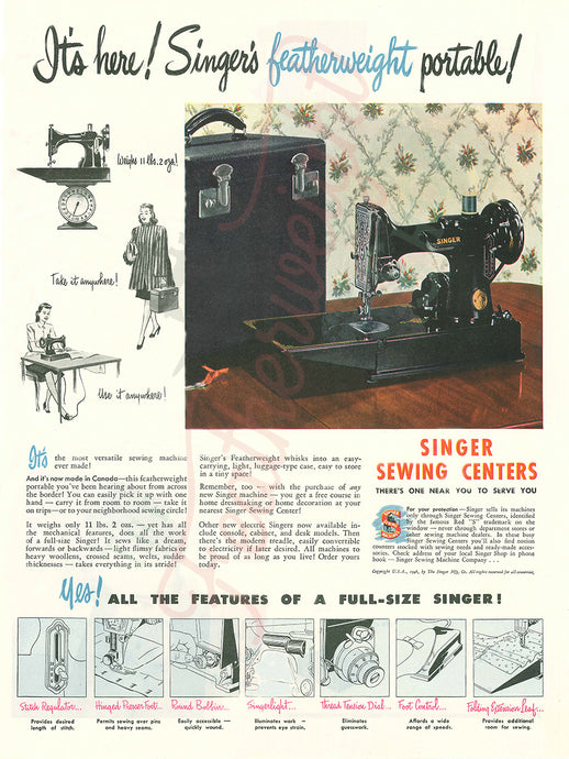 Advertisement Tin Sign, Replica Featuring the Singer Featherweight
