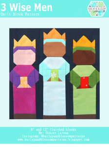 Pattern, Three Wise Men Quilt Block by Burlap and Blossom (digital download)