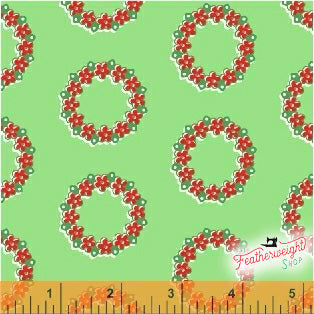 Fabric, Candy Cane Lane by Windham - HOLIDAY WREATH GREEN (by the yard)