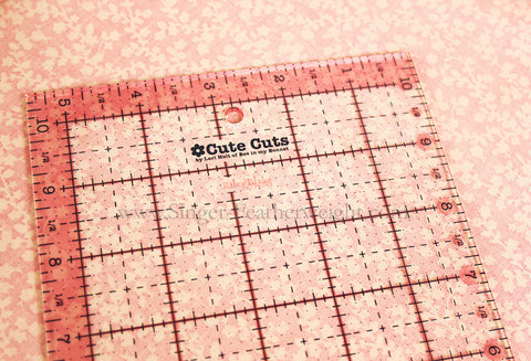 "Cutting Ruler, Pink 5"" x 10"" Lori Holt Cute Cuts (with self-grips)"