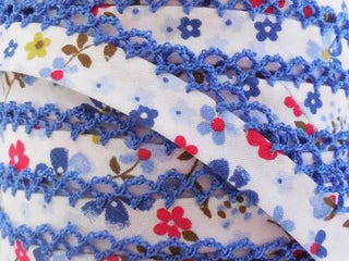 Load image into Gallery viewer, Double Fold Crochet Edge LACE BIAS TAPE - BLUE FLORAL  (SOLD BY THE YARD)