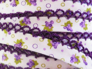 Load image into Gallery viewer, Double Fold Crochet Edge LACE BIAS TAPE - DARK PURPLE GRAPES  (SOLD BY THE YARD)