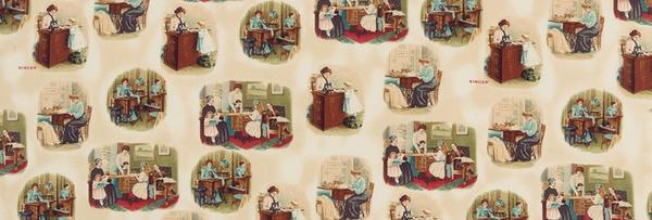 Fabric, Singer Featherweight Sewing Machines - Postcard Vignettes - Sepia (Discontinued)