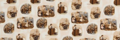 Fabric, Singer Featherweight Sewing Machines - Postcard Vignettes - Antique