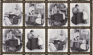 Fabric, Singer Featherweight Sewing Machines - Postcards Panel - Framed (Black & White)