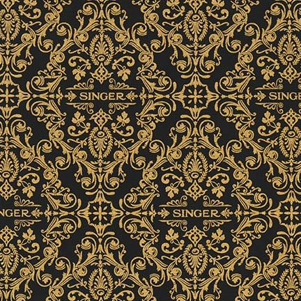 Fabric, Singer Featherweight Sewing Machines - Black & Gold Scrollwork