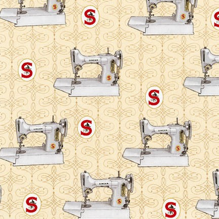 Fabric, Singer Featherweight Sewing Machines - White Featherweights on Antique