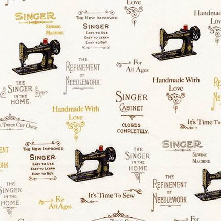 Fabric, Singer Featherweight Sewing Machines - Antique Sewing Machines - IVORY