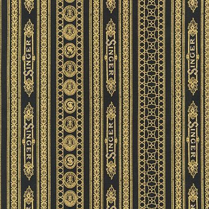Fabric, Singer Featherweight Sewing Machines - Decals, Singer Gold on Black