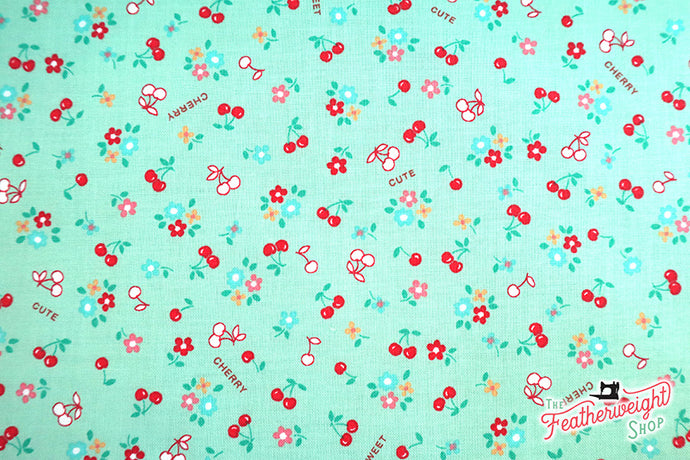 Fabric, Sweet Little Cherries, Mint Green - 30's Collection (by the yard)