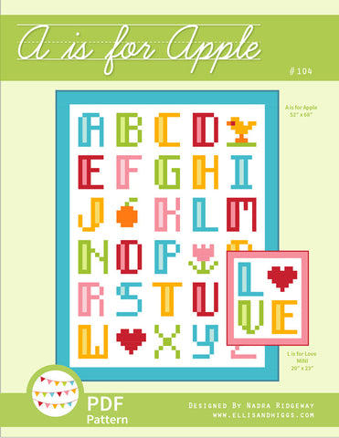 Pattern, A is for Apple / L is for Love Quilt (digital download)