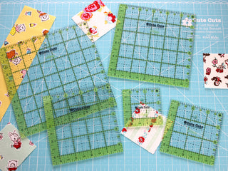 Load image into Gallery viewer, Cutting Ruler SET, Cute Cuts by Lori Holt SQUARE Green (with self-grips)
