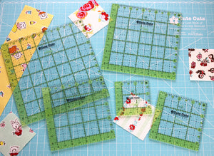Cutting Ruler SET, Cute Cuts by Lori Holt SQUARE Green (with self-grips)