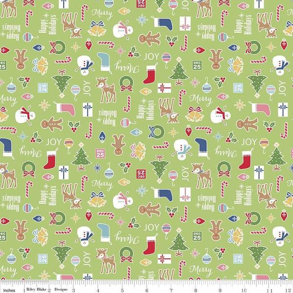 Fabric, COZY Christmas by Lori Holt of Bee in My Bonnet - Main, Green Cozy