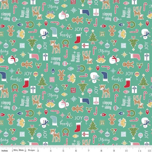 Fabric, COZY Christmas by Lori Holt of Bee in My Bonnet - Main, Teal Cozy