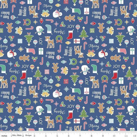 Fabric, COZY Christmas by Lori Holt of Bee in My Bonnet - Main, Navy Cozy