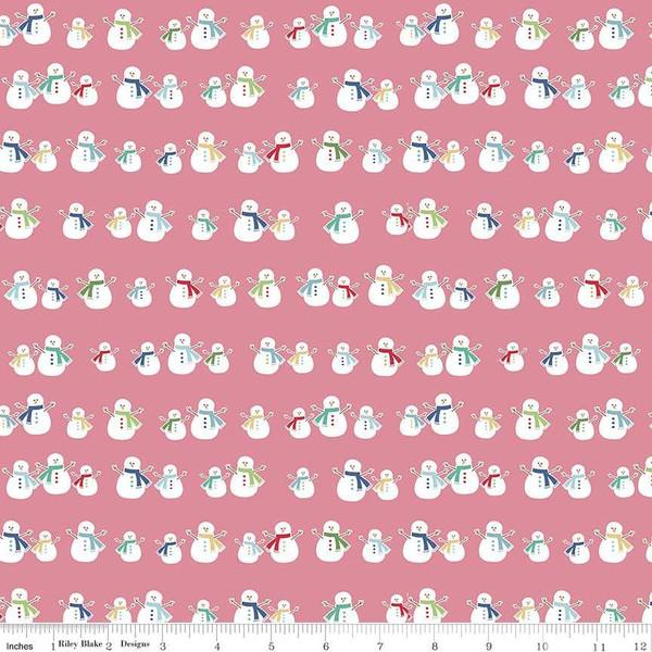 Fabric, COZY Christmas by Lori Holt of Bee in My Bonnet - Snowmen, Pink