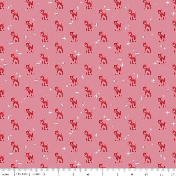 Fabric, COZY Christmas by Lori Holt of Bee in My Bonnet - Reindeer, Pink