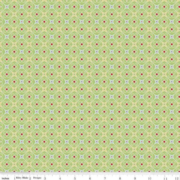 Fabric, COZY Christmas by Lori Holt of Bee in My Bonnet - Wrapping Paper, Green