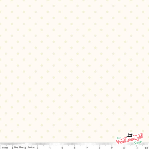 Fabric, Le Creme SWISS DOT CREAM BASIC by Riley Blake  (by the yard)
