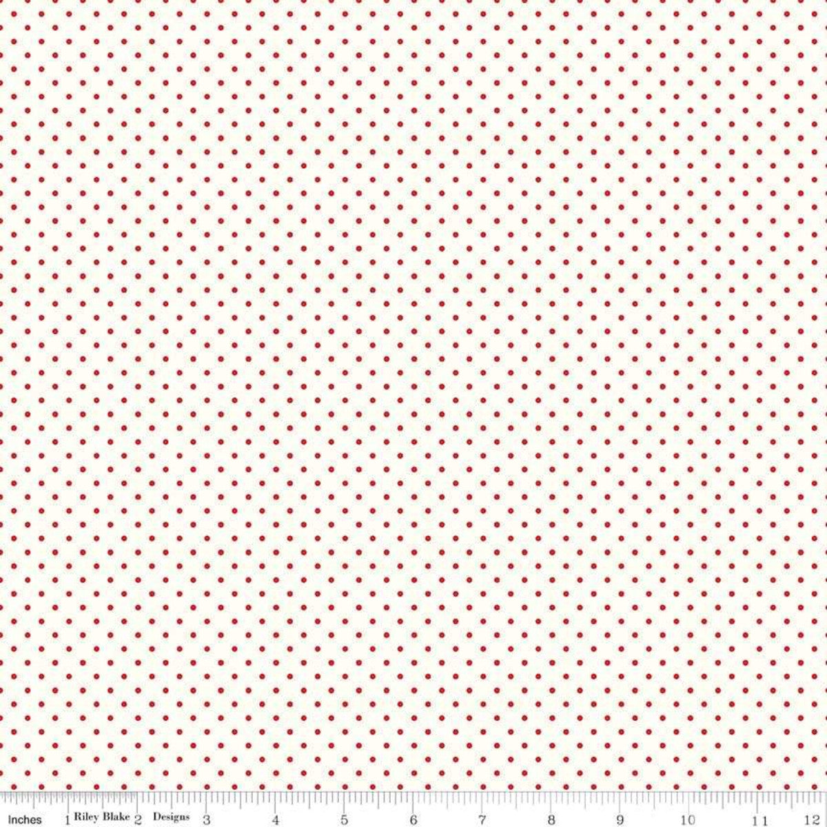 Fabric, Le Creme SWISS DOT RED BASIC by Riley Blake  (by the yard)