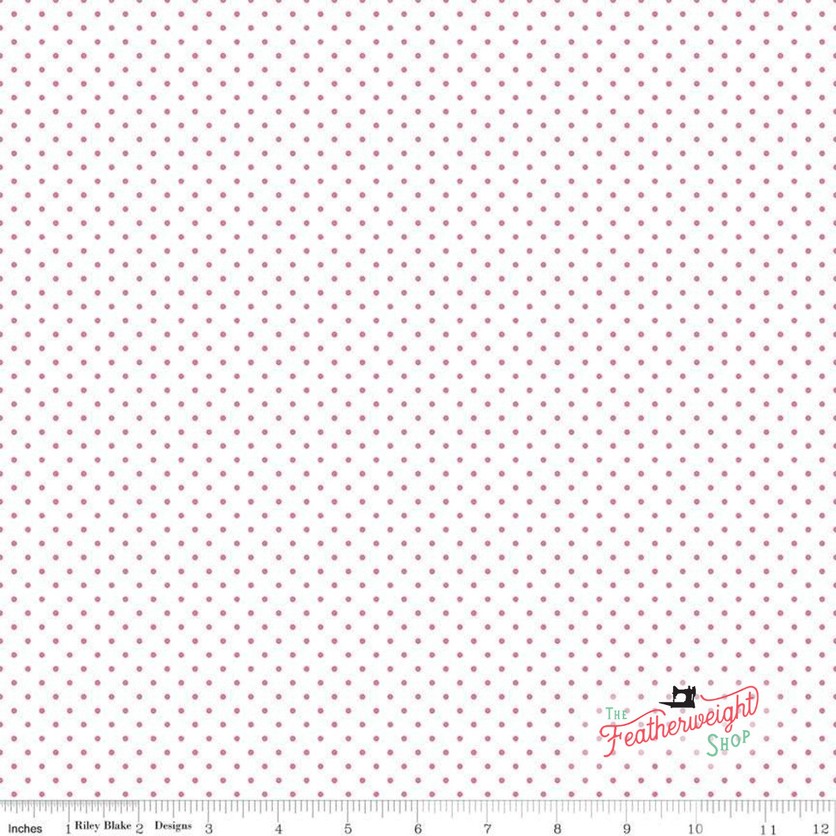 Fabric, SWISS DOT HOT PINK ON WHITE BASIC by Riley Blake  (by the yard)