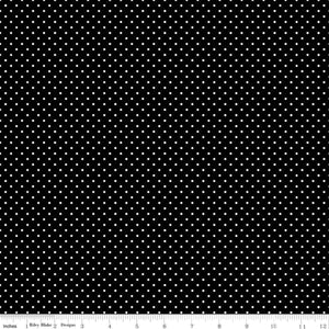 Fabric, SWISS DOT WHITE ON BLACK BASIC by Riley Blake  (by the yard)