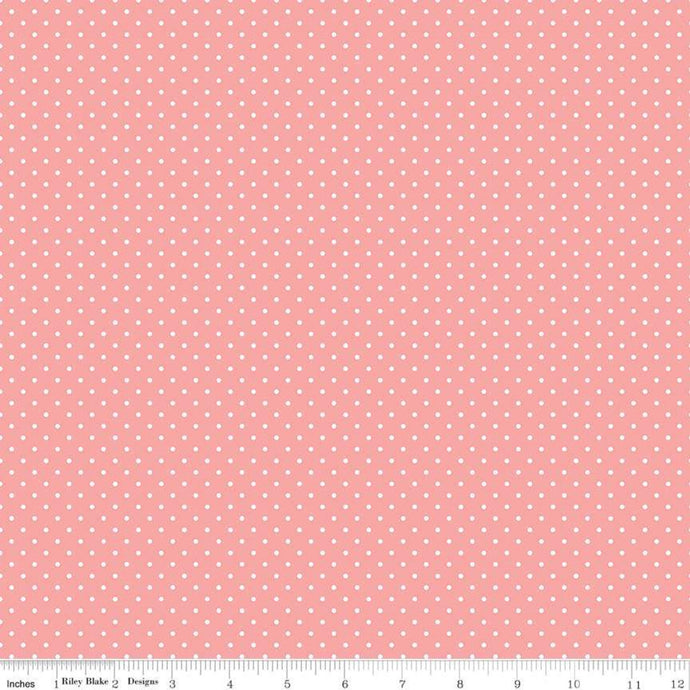 Fabric, SWISS DOT WHITE ON CORAL BASIC by Riley Blake  (by the yard)