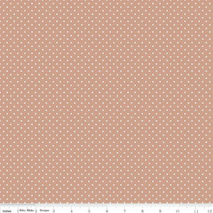 Fabric, SWISS DOT WHITE ON NUTMEG BASIC by Riley Blake  (by the yard)