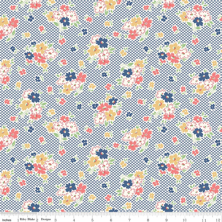Fabric, Farm Girl Vintage by Lori Holt DENIM MAIN (by the yard)