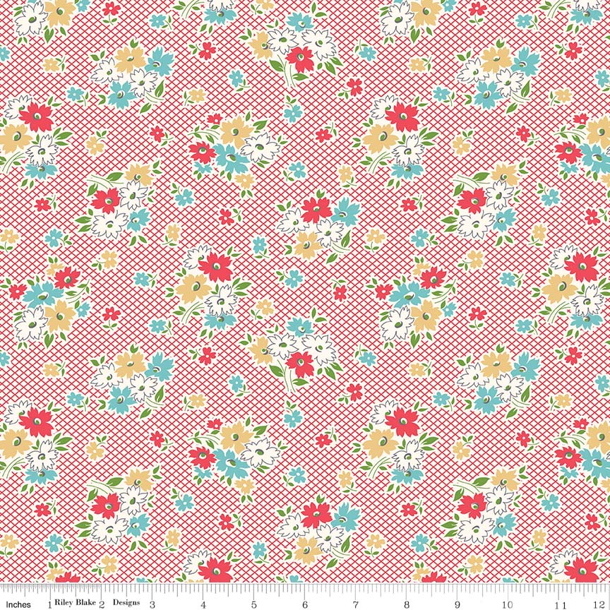Fabric, Farm Girl Vintage by Lori Holt RED MAIN (by the yard)