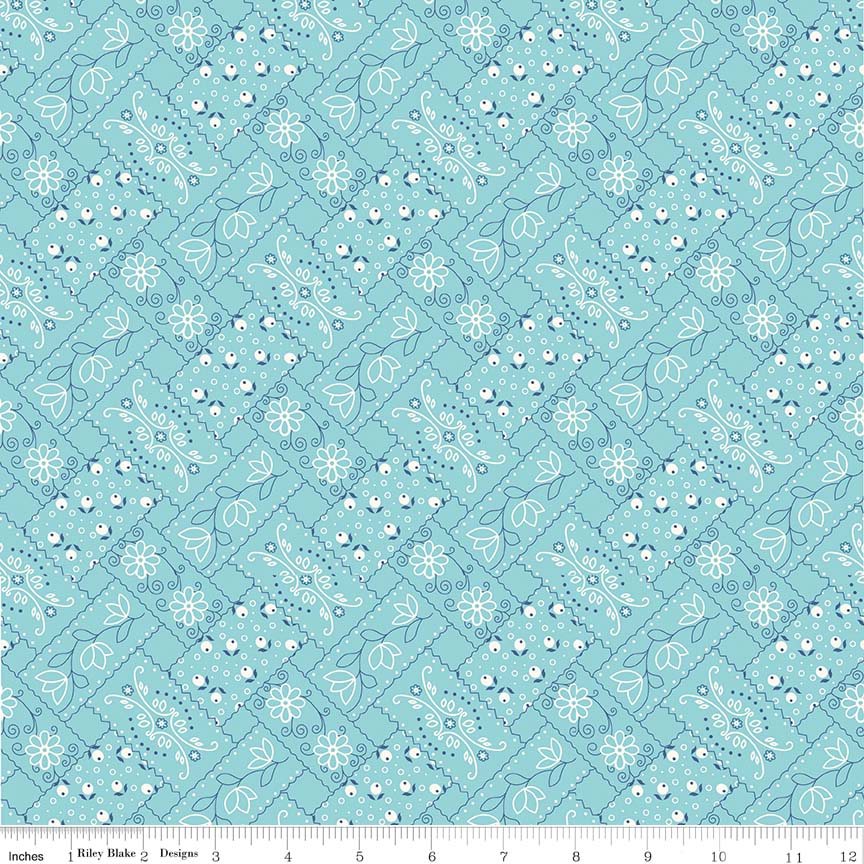 Fabric, Farm Girl Vintage by Lori Holt BANDANA AQUA (by the yard)