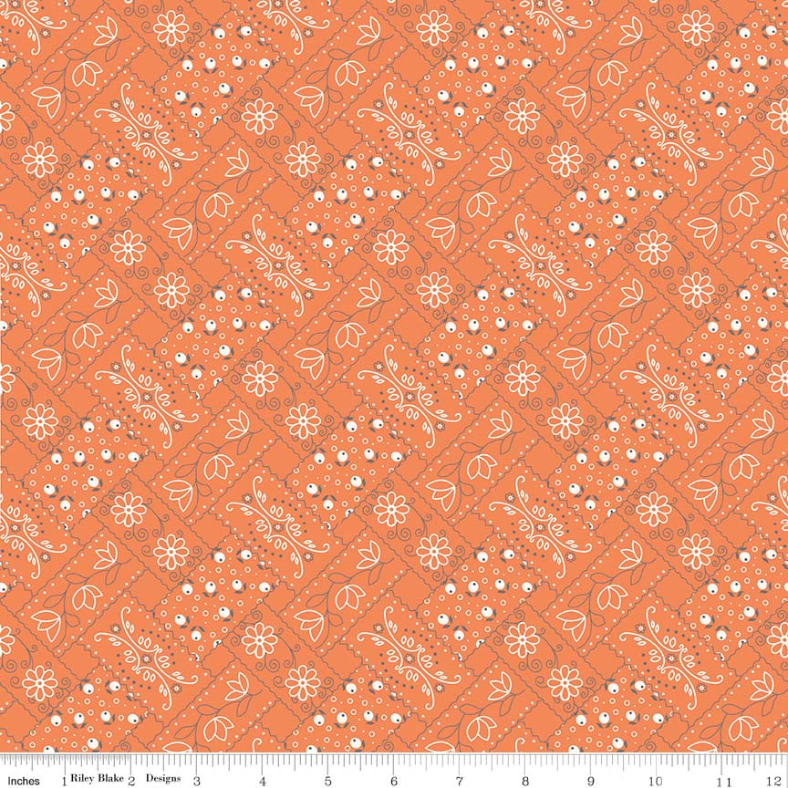 Fabric, Farm Girl Vintage by Lori Holt BANDANA ORANGE (by the yard)