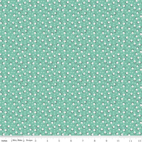 Fabric, Farm Girl Vintage by Lori Holt SEA GLASS BLOSSOM (by the yard)