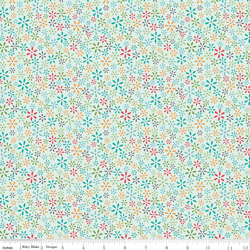 Fabric, Farm Girl Vintage by Lori Holt TINY FLORAL BLEACHED DENIM (by the yard)