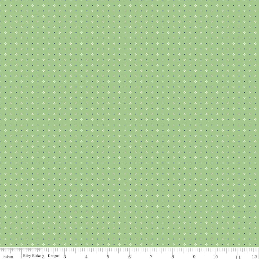 Fabric, Farm Girl Vintage by Lori Holt HOUNDSTOOTH GREEN (by the yard)