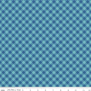 Fabric, COZY Christmas by Lori Holt of Bee in My Bonnet - Gingham, Blue