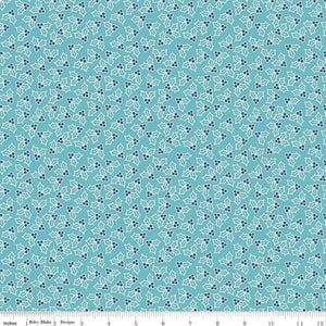 Fabric, COZY Christmas by Lori Holt of Bee in My Bonnet - Holly, Blue