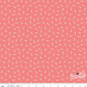 Fabric, Farm Girl Vintage Companion Prints by Lori Holt - FLOWER POTS CORAL (by the yard)