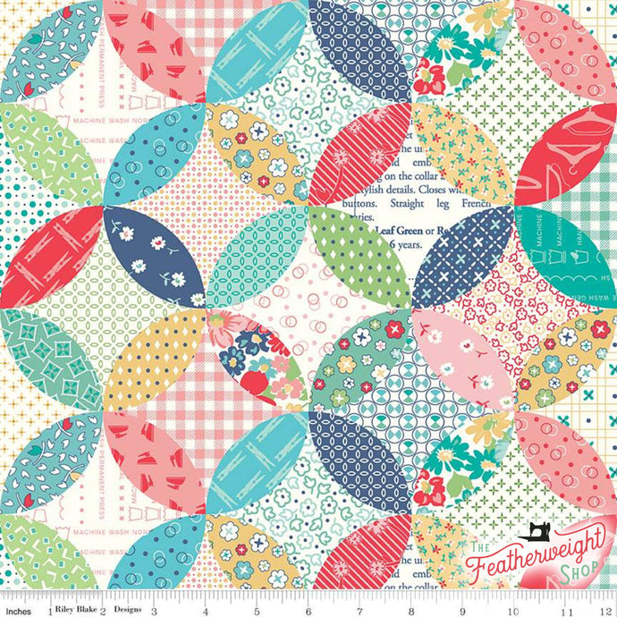 Fabric, Vintage Happy 2 by Lori Holt -  QUILTED MULTI (by the yard)