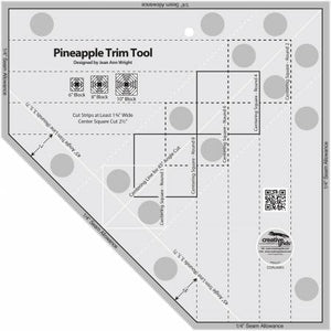 Cutting Ruler, CREATIVE GRIDS Pineapple Trim Tool (with self-grips)