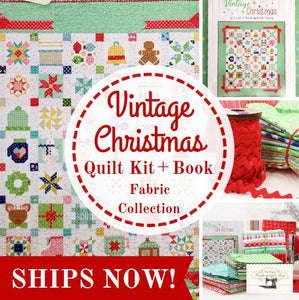 "Quilt Kit, ""Cozy Christmas"" Fabric COLLECTION + Pattern BOOK, Vintage Christmas - by Lori Holt for Riley Blake"