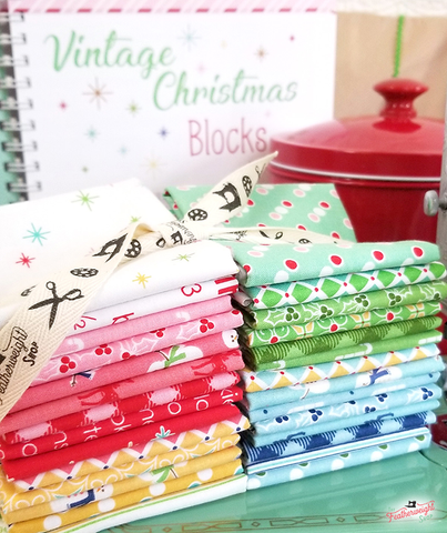 Fabric, Cozy Vintage Christmas Fat Eighth Bundle by Lori Holt for Riley Blake Designs
