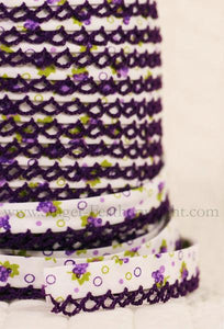 Double Fold Crochet Edge LACE BIAS TAPE - DARK PURPLE GRAPES  (SOLD BY THE YARD)